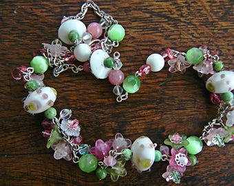 Parure 1000 flowers pink and green