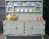Large Oak Welsh Dresser  Chateau Gray Annie SLOAN  Kitchen Unit  Shabby Chic