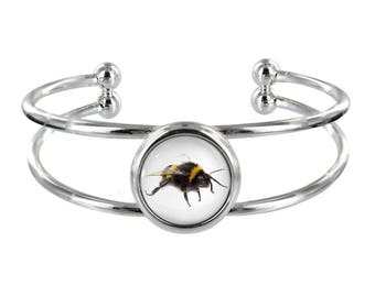 Bumblebee On Silver Plated Bangle in Organza Gift Bag