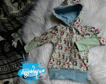 KidHoodies Hoodie, vintage, rabbit, bunny, 3-12 months, girl, girl, evolutionary growup, pastel