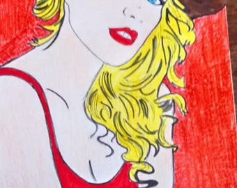 drawing woman's hat on red background