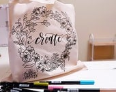 Create Flower Wreath Canvas Tote | Modern Calligraphy Botanical Line Drawing