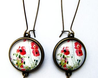 Earrings with poppies and red beads