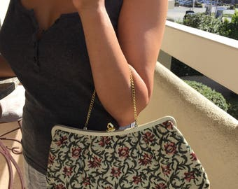 Vintage Needle Point Purse, Pink and Cranberry Floral Clutch