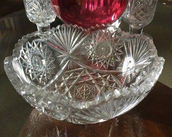 Early Century American Crystal Bowl, Hand Cut Rarly American Crystal Bowl