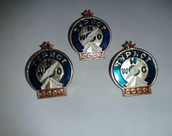 Three Soviet Camping Compass Tourist Society Association Member Badge Pin