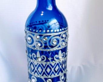 Hand Painted Sealed Glass Bottle-Decorative Decanter-Oil Bottle-Painted Glass Bottle-Liquid Soap Dispenser-Liquor Bottle-BOHO-OOAK-Cool Gift