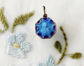 Vintage Art Deco Style Catholic St. Therese of Lisieux Medal Charm with Guilloche Blue Enamel
