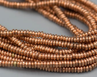 """400 - 3x1mm Copper Heishi Metal Spacer Beads 21"""" Strand - Jewelry Supply"""