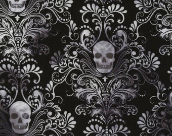 Stretchy Skull Damask Cotton Knit fabric