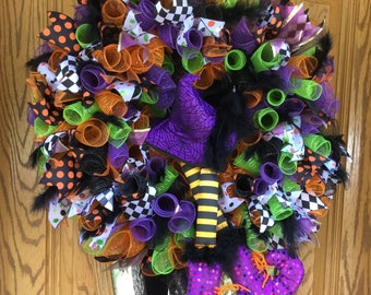 Halloween Wreath, Halloween, Deco Mesh, Purple, Witches Hat, Feathers, Witches Legs, Glitter, Halloween Ribbon