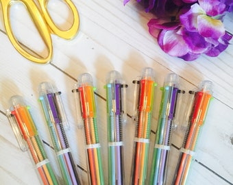 Multicolored 6 in 1 Colorful Ballpoint Pen ~ Stationery ~ Planner Pen ~ Bullet Journal