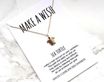 Turtle wish necklace, minimalist dainty necklace, mermaid necklace, delicate simple necklace, minimalist jewelry, everyday modern necklace