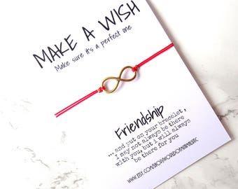 Infinity friendship bracelet, red string bracelet, infinity jewelry, dainty simple bracelet gift on a card, Best friends bracelet bff gift