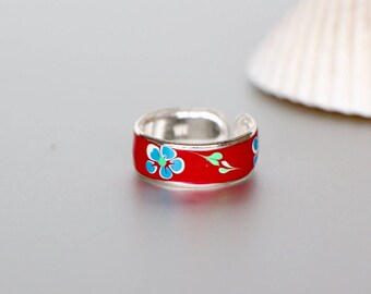 Red Toe Ring,Silver Toe Ring, Flower Print Toe Ring, Printed Toe Ring, Bohochic,Feet jewelry, Toe Ring For Her, Pretty Toe Ring ,(TS40R)
