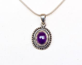 Amethyst Pendant, Sterling Silver And Stone Pendant, Silver Chain Necklace, Silver Charm, Delicate Pendant, Gifts For Her,(P105)