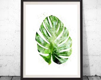Monstera leaf poster, botanical leaf art, monstera leaf, botanical art, monstera watercolor, botanical poster, leaf art botanical watercolor
