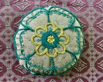 Antique Handmade Embroidered Folk Art Pin Cushion
