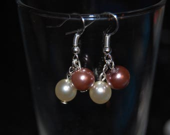 Earrings classes and discreet, Brown and cream