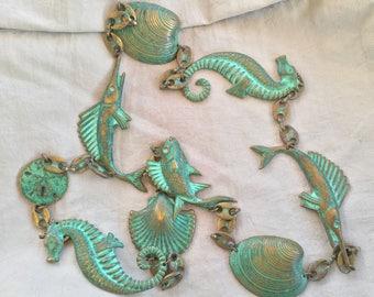 Copper SeaShell Fish Necklace Vintage Green Patina Jewlery