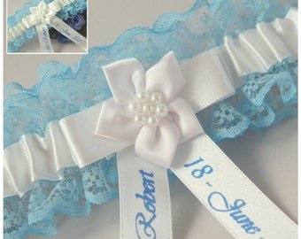 Personalised Bridal/Wedding Garter. Blue lace with ivory or white satin trim. Personalised with names & date.