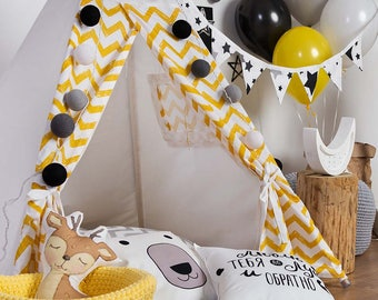 READY TO SHIP! Yellow zigzag chevron teepee with poles Yellow nursery playhouse for kids Play tent Tepee tent for kids Indoor wigwam Tipi