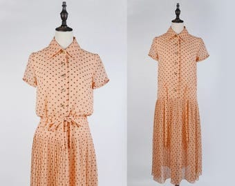 Vintage Japanese Dress, Light/Pastel Orange Brown Polka Dot, Short Sleeves, Waist Tie, Pleated, Chiffon Vintage  Women Dress Shirt, Size S-M