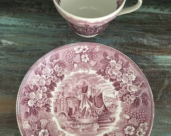 FERRARA - Wedgwood of Etruria & Barlaston  / english transferware / pink plum transfer ships in the port of Ferrara/Italy