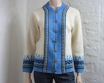 Vintage Norwegian cardigan By NORLANDER warm winter outdoor cardigan, womens size M pure wool jacket, Scandinavian Nordic pattern knitwear