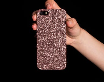 Glitter Case for iPhone 4, 5/5S/SE, 6/6S Plus, 7 Plus, Samsung A3, S6, S7 Edge, S8 Plus and Google Pixel XL - Rose Gold