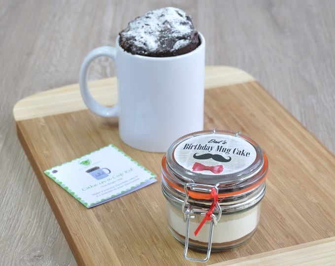 Quirky male birthday, personalised cake, moustache bow tie gift, mug cake man, instant cake in cup, moustache man, dads brother birthday,