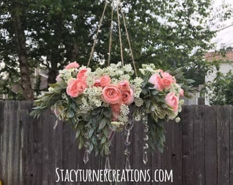 Wedding Floral chandelier - rustic wedding decor - floral chandelier - hanging floral decor - rustic hanging wedding decor