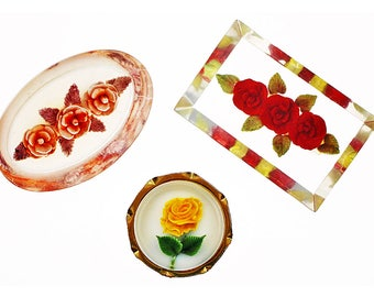Vintage Reverse Carved Lucite Brooch, Group of 3, Lucite Pin, Flower Brooch, Flower Pin, Carved Lucite, Mid Century, Red, Yellow, Pink Rose