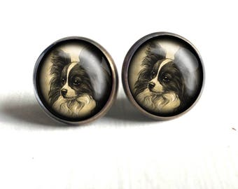Papillon Dog Stud Earrings- Traditional dachshund illustration under glass cabochon, nickel free brass findings