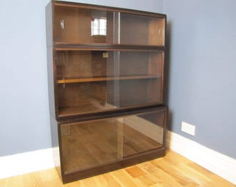 Simplex Library Sectional Glass Fronted Bookcase 1950's Vintage Industrial Storage Cupboard