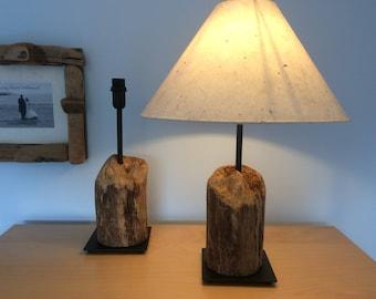 Driftwood Stump Lamp Pair