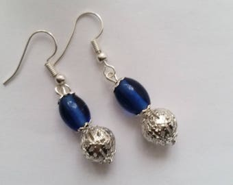Dangle And Drop Indian Blue Glass and Silver Filigree Earrings