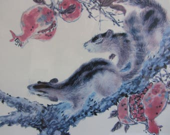 Vintage Chinese Large  Squirrel  Print Signed