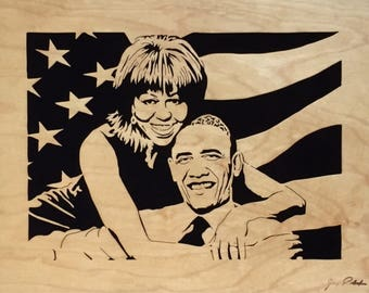 "Barack and Michelle Obama Portrait ""Hope"" Portrait by Jay Roberts Scroll saw art Wooden portrait Black art African American art"