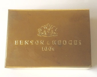 Vintage Benson & Hedges 100's Brass Finish Pocket Ashtray - Retro Style