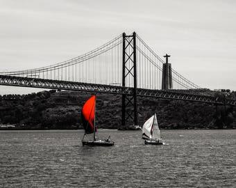25 de Abril Bridge - Lisbon Bridge  - Black and White - Red - Neutral Decor - Stylish - Fine Art Photography  - Red Sails - 0108