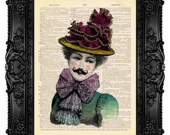 Victorian Woman with Moustache - ORIGINAL ARTWORK - Dictionary Art Print Vintage Upcycled Antique Book Page no.53