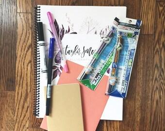 Calligraphy Kit, Brush Lettering Kit, Calligraphy, Calligraphy Workbook, Calligraphy Starter Kit, DIY Kit, Birthday Gift
