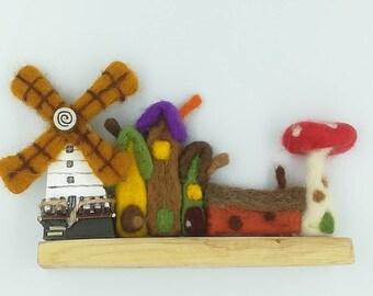 Fairy cottage Village - wood and felt windmill