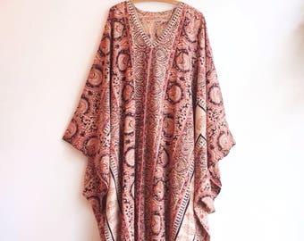 Vintage indian cotton hippie boho dress bohemian kaftan S/M/L