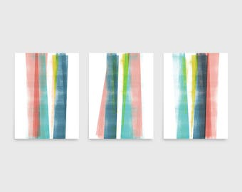 Abstract Art, Best Selling Item, Colorful Wall Art Prints, Triptych Wall Art Set of 3 Prints, Scandinavian Print, Geometric Art, Framed Art