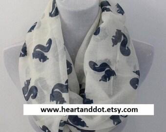 squirrel scarf, squirrel girl scarf, animal scarf, scarf shawl, Spring Scarf, Summer Scarf, Gift, For her, For Women