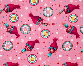 Dreamworks Trolls Poppy Cupcake Toss Cotton Fabric from Springs Creative licensed, woven cotton, pink, 59740C470715, fabric, kids, toss