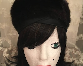 CLEARANCE SALE Vintage Early 1960s Brown Mink Pillbox Hat with a Satin Ribbon Mink Pillbox Hat Jackie O Style Fur Hat Quality Brown Mink