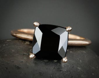 Square Cut Black Tourmaline Ring - Prong Set Black Tourmaline Ring - Choose Your Setting